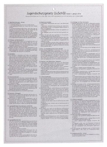 GRÄWE® Gastroschild mit aktuellem Auszug aus dem ' Jugendschutzgesetz ' aktuelle Version