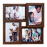 Amazon Brand - Umi - 4 Marcos de Fotos Cuatro Marcos de Madera de imitación de Apertura de 3.5x5(9x13 CM)(Oscuro) Picture Frame Multi Picture Frame Independiente o montado en la Pared