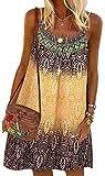 WINKEEY Femme Robe Courte à Bretelles Bohème Vintage Robe d'été Florale Robe de Plage, Jaune L