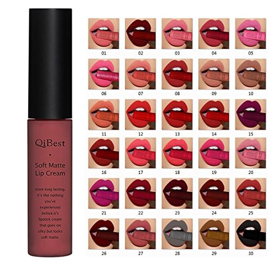 パズル火山学者優しい(25) Qibest Brand Lip Gloss Long Lasting Red Lips Matte Lipstick Liquid Lip Tint Cosmetic Nude Velvet Lipstick Matte Lip Makeup