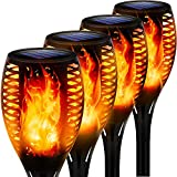 Swonuk Outdoor Solar Lights, Waterproof Torches Landscape Flickering Flame Solar Spotlights Halloween Decorations Lighting Dusk to Dawn Auto On/Off Security Torch Light for Garden Patio Driveway 4 PC