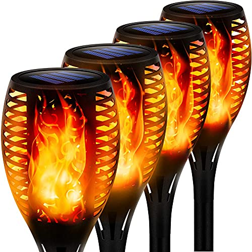 Swonuk Outdoor Solar Lights, Waterproof Torches Landscape Flickering Flame Solar Spotlights Halloween Decorations Lighting Dusk to Dawn Auto On Off Security Torch Light for Garden Patio Driveway 4 PC
