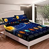 Feelyou Solar System Fitted Sheet Space Galaxy Bed Sheet Set Eight Planets Astronomy Bedding Full Size Includes 1 Sheets & 2 Pillowcases (No Flat Sheet)