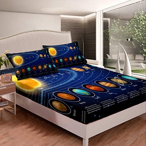 Feelyou Solar System Bed Sheet Set Galaxy Outer Space Sheets for Kids Boys Girls Universe Planets Bedding Set Astronomy Fitted Sheet Bedroom Collection 3Pcs Queen Size