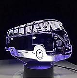 Luz De Noche Led 3D Camping Bus Lámpara De Mesa Acrílica 7 Variaciones De Color Luz De Noche Led Usb Iluminación Del Sueño Del Bebé Regalo De Cumpleaños Del Niño