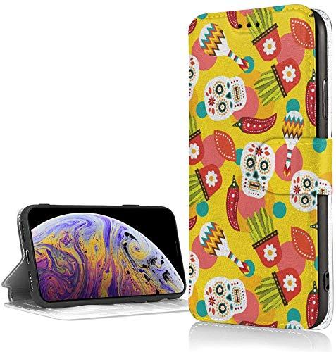 Bernice Winifred Mexican Pepper Case para iPhone XR Luxury PU Leather Wallet Case Flip Folio Cover con Ranuras para Tarjetas Correa de muñeca