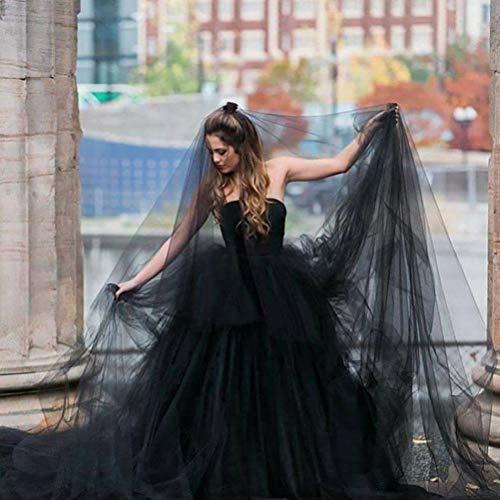 Yeah-hhi Halloween Noir Voile de Mariée, Simple Dentelle Longue Maille Mariage Veil pour Halloween Costume Party Poule Photo Party Props,1.5 * 3.0m
