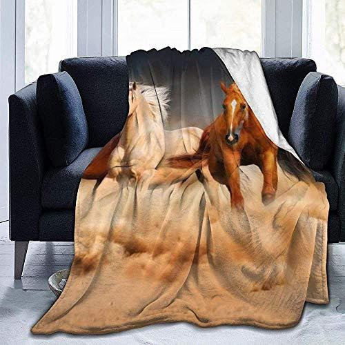 ZAlay Galoppierende Pferde Vintage Rustikaler Landhausstil - Ultraweiche Micro-Fleece-Decke - Leichte Thermo-Decke