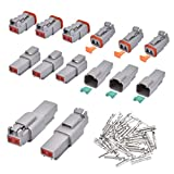 Electrical Wire Connector Plug - VIGRUE 8 Sets 2 Pin 14-20AWG Waterproof Sealed Auto Gray Male and Female Terminal Connectors for Motorcycle,Truck, Car, Boats,Scooter
