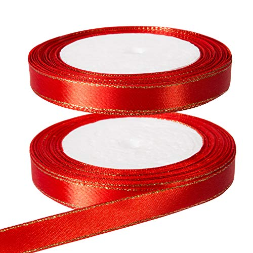Kesote 2 Rollo de Cinta Raso Rojo Cinta de Tela de Doble Cara para Regalo Decoración (12 mm de Ancho)