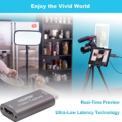BlueAVS HDMI to USB Video Capture Card 1080P for Live Video Streaming Record via DSLR Camcorder Action Cam - Capture 1080P@60Hz (Coffee)