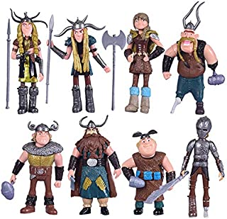 Max Fun Set of 8 Pcs How To Train Your Dragon Action Figures Hiccup Astrid Stoick & Ruffnut Child Toys Xmas Gift Cake toppers
