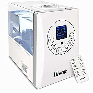 LEVOIT Humidifiers, 6L Warm and Cool Mist Ultrasonic Humidifier for Bedroom Babies with Remote and Humidity Monitor, Vaporizer for Large Room, Home, Waterless Auto Shut-off
