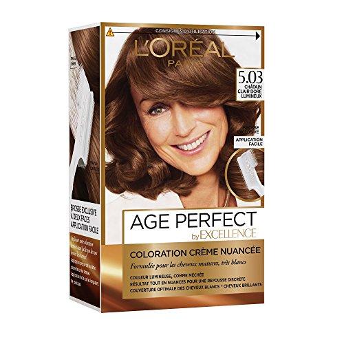 L'Oréal Paris - Excellence Age Perfect - Coloration Permanente Cheveux Matures & Très Blancs - Nuance 5,03 Châtain Clair Doré Lumineux