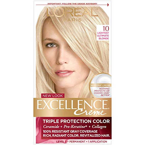 L'Oreal Paris Excellence Creme Permanent Hair Color, 10 Lightest Ultimate Blonde, 100% Gray Coverage Hair Dye, Pack of 1