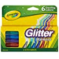 Crayola Glitter Markers, Assorted Colors, Gift, 6 Count (58-8629) by Crayola