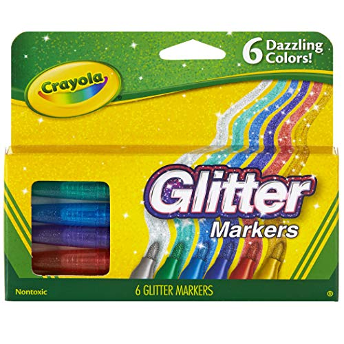 Crayola Glitter Markers, Assorted Colors, Gift, 6 Count (58-8629)