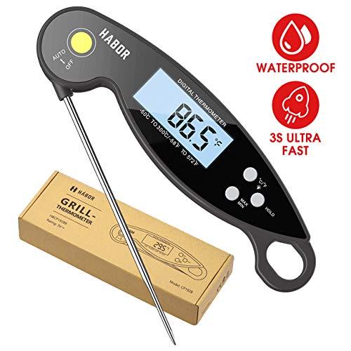 Habor Digitales Bratenthermometer, IPX7-wasserdicht Küchenthermometer, Faltbar Instant Read Fleischthermometer mit LCD-Bildschirm, Grillthermometer für Braten, BBQ, Backen, Baby-Ernährung