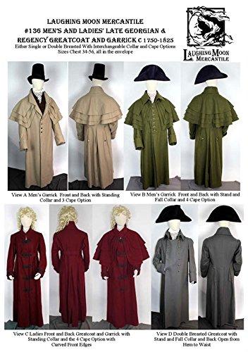 Men's and Ladies' Late Georgian & Regency Greatcoat Garrick Overcoat Jacket c.1750- 1825. Sewing Pattern #136 (Pattern Only)