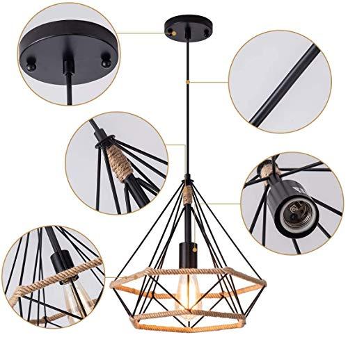 Leduni Lámpara de Techo Vintage Industrial cuerda de cáñamo Loft luz...