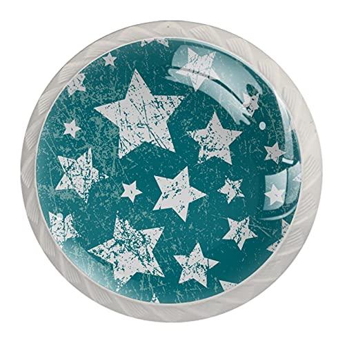 Tirador Para Muebles Bebé Estrellas Blancas Retro Tirador Para Cajón Redondo Blanco Pomo Para Muebles Impresión Pomo De Puerta 4 Piezas Para Niños 3.5×2.8CM