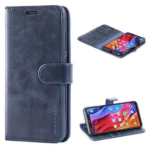 Mulbess Handyhülle für Xiaomi Mi 8 Hülle Leder, Xiaomi Mi 8 Handy Hüllen, Vintage Flip Handytasche Schutzhülle für Xiaomi Mi 8 Hülle, Navy Blau