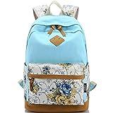 KAXIDY Damen Mädchen Schüler & Schülerin Lässige Vintage Blumendruck Rucksack Daypack Schulranzen Schulrucksack Wanderrucksack Schultasche Rucksack für Freizeit Outdoor Sports (Hellblau)