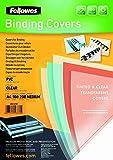 Fellowes Portadas para encuadernar de PVC transparente, formato A4, 180 micras, pack de...