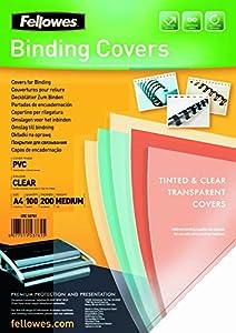 Fellowes Portadas para encuadernar de PVC transparente, formato A4, 180 micras, pack de 100