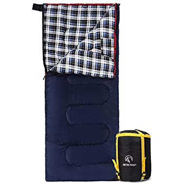 REDCAMP Cotton Flannel Sleeping bag for Camping, 50F/10C 3-season Warm and Comfortable, Envelope Blue 3lbs(75 x33 )
