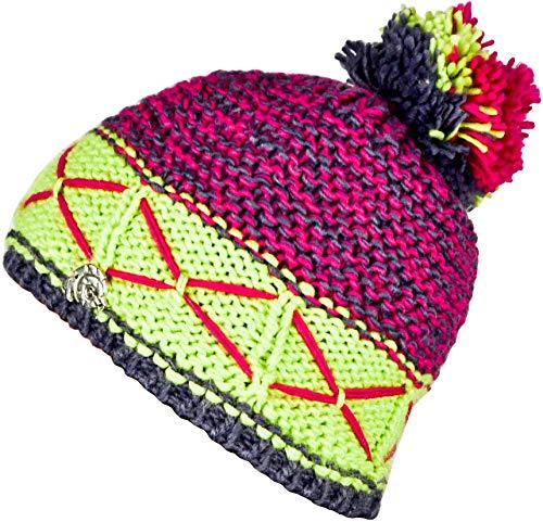 Guggen Mountain Sombrero de Invierno para Mujer Sombrero con Pompon de Punto Bobble Sombrero clásico Sombreros cálidos Gorra con Forro Polar Ligero Amarillo Fucsia