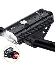 ZATK 自転車 ライト ヘッドライト LED 自転車用ヘッドライト USB 充電式 6モード IPX5 防水 最大8時間の長時間照明 フロントライト・テールライトセット 350ルーメン 防振 夜間乗り 通勤 通学に最適 (黒)