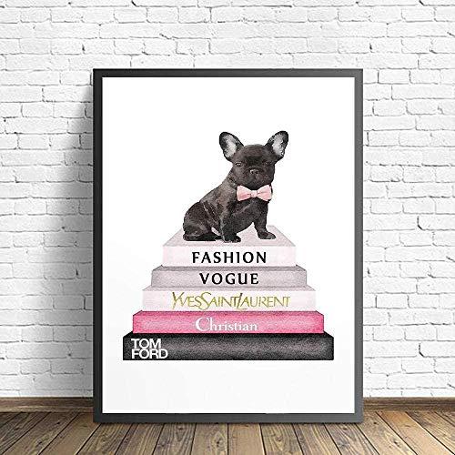 Arte de la pared Decoración de la lona Salón Botella de perfume Carteles e impresiones Pintura Perros Imágenes con estampado de animales para la sala de estar 40x60cm Sin marco