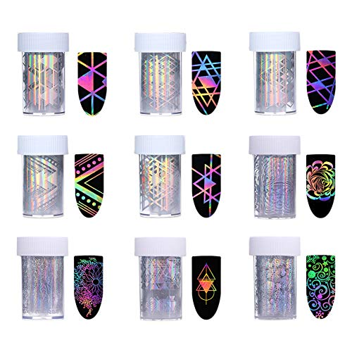 Born Pretty 10Rolls Nail Art Foil Sticker Holographic Laser Gradient Starry Sky Geometry Flower Animal Manicure Transfer Decals