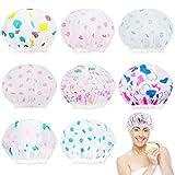 8 Stück wasserdichte EVA-Kunststoff-Kappen, elastisch, wiederverwendbar, Badekappe mit Spitze, elastisch, wiederverwendbar, Badekappe mit Blumendruck für Frauen und Mädchen