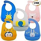 5 Pz Baberos Blando de Silicona para Bebés Impermeable, 5 Colores - Ajustable,...