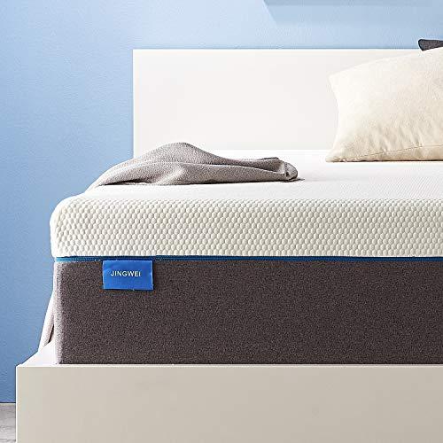 Twin Size Mattress, JINGWEI 9 Inches Cooling-Gel Memory Foam Mattress Bed in a Box, Certified Foam, Pressure Relief & Supportive, Medium Firm