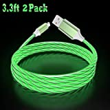 Type C LED Lighting Cable 360 Degree Light Up Visible Flowing Liquid LED Type C Cable Cord for Galaxy S10, S10+, Note 9, S9 S8, LG V30 V50 G6 G7, Google Pixel 3a XL, One Plus 7 Pro, 6T (Green)