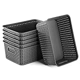 Plastic Storage Basket Set of 6 Durable Small Pantry Organizer Bins Organization and Storage Shelves Baskets for Drawers,Desktop,Shelves, Playroom,Closet, Classroom, Office, and More
