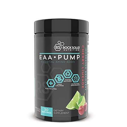 Rock Solid Nutrition EAA Pump Essential BCAA Amino Acid Post Workout Recovery Supplement, Drink Powder, 30 Servings (Cherry Limeade)