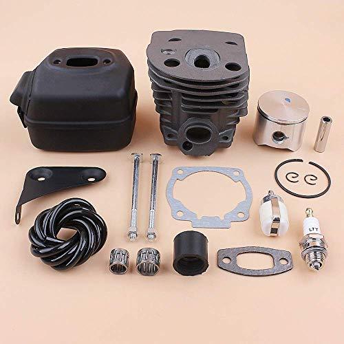 MQEIANG Kit de motor de perno de silenciador de pistón de cilindro de 45 mm compatible con 50 51 55 piezas de repuesto de motor de motosierra de gas 503168301, 501766605