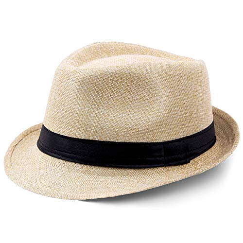 Coucoland Panama Hut Mafia Gangster Herren Fedora Trilby Bogart Hut Herren 1920s Gatsby Kostüm Accessoires (Beige)