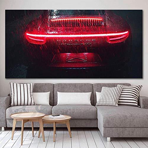 VVSUN Rojo Porsche 911 Cartel de Coche HD impresión Lienzo Pintura para Sala de Estar Arte de Pared decoración del hogar Imagen 60X100cm 24x40 Pulgadas sin Marco