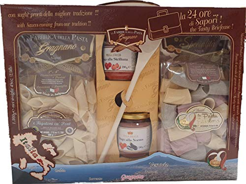 La Fabbrica della Pasta di Gragnano, the 24 Hours of flavors, Pack of 2 packs of Pasta of 500 g, Sicilian sauce, Norma sauce and A ladle.