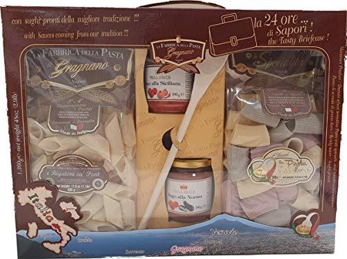 La Fabbrica della Pasta di Gragnano, la 24 Ore. di sapori, Confezione con 2 pacchi di Pasta da 500g, sugo alla siciliana, sugo della Norma e Un mestolo.