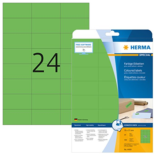 HERMA 4469 Farbige Etiketten DIN A4 ablösbar (70 x 37 mm, 20 Blatt, Papier, matt) selbstklebend, bedruckbar, abziehbare und wieder haftende Farbetiketten, 480 Klebeetiketten, grün