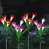 Litogo Luces Solares Flores de Lirio, 4 Paquete Luces Solares Flores de Lirio IP65 Impermeable Luz solar Exterior Jardin, para Exteriores, Jardín, Patio, Camino, Decoración de Fiesta (Morado y Rosa)