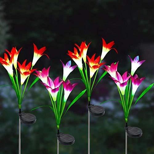 [4 Stück] Solarleuchte Garten, litogo Solarleuchten für Außen, Garten Lampen Lilie Blumen Solarlicht mit Farbwechsel LED Lampen, Außen Dekoration Lichter für Garten,Terrasse, Backyard (Pink & Lila)