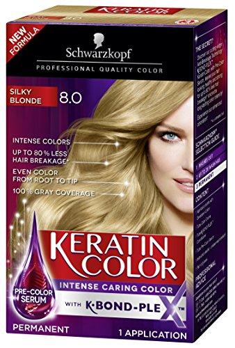 Schwarzkopf Keratin Color Anti-Age Hair Color Cream, 8.0 Silky Blonde (Packaging May Vary)