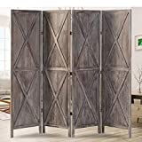 oneinmil 4 Panel Wood Room Divider, 5.9 Ft Tall Folding Privacy Screens Room Divider, Freestanding Partition Wall Dividers, Rustic Barnwood Farmhouse, Brown